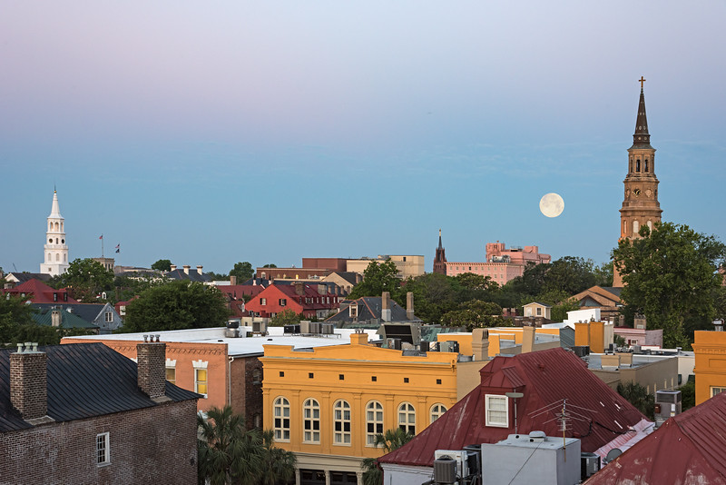 Moonset over Charleston rooftops