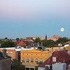 Moonset over Charleston rooftops