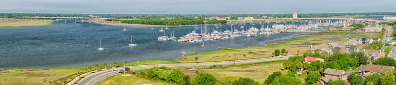 James Island Connector, Ashley River and Charleston City Marina Panorama
