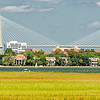 Panorama of Charleston from bridge over James Island Creek