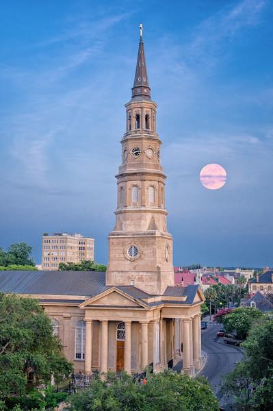St. Philips Church under a full moon