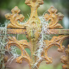 Wrought ironwork and Spanish Moss at Magnolia Cemetery