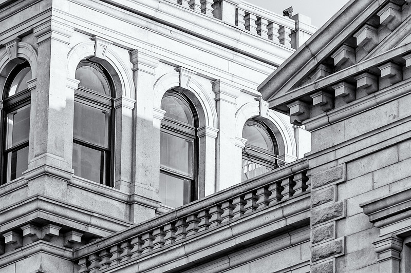 Architectural detail, US Post Office, Broad Street, Charleston, SC (b&w)
