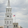 St. Michael's Church steeple and the Charleston Post Office, Broad Street