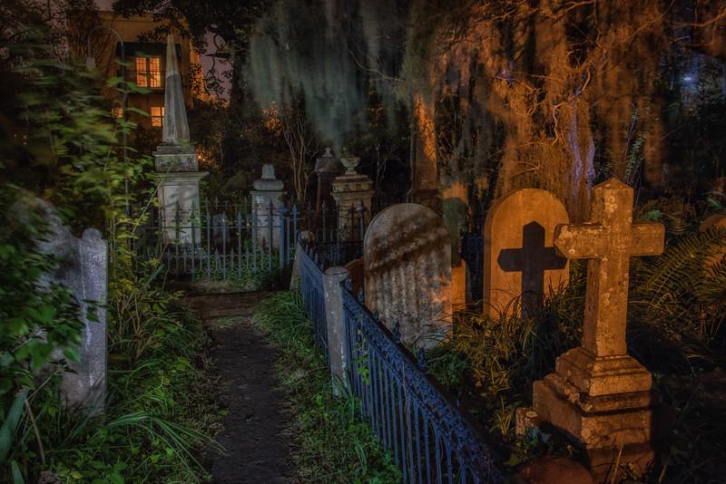 Unitarian Church Cemetery at night