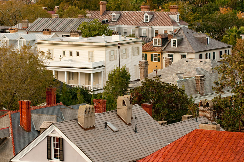 Historic Rooftops on South Battery, Charleston, SC