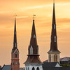 The steeples of Mother Emmanuel AME, Citadel Baptist, and St. Matthews Lutheran Churches