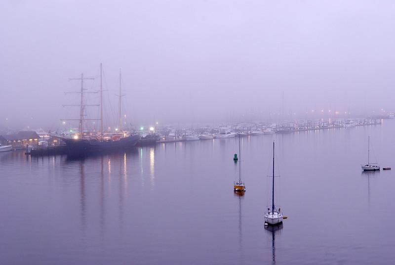 Boats anchored in Charleston Harbor
