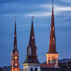The steeples of Mother Emmanuel AME, Citadel Square Baptist and St. Matthews Lutheran Churches