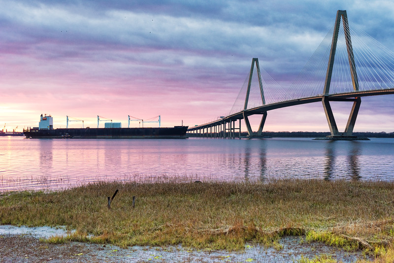 Container ship passes under the Arthur Ravenel Bridge