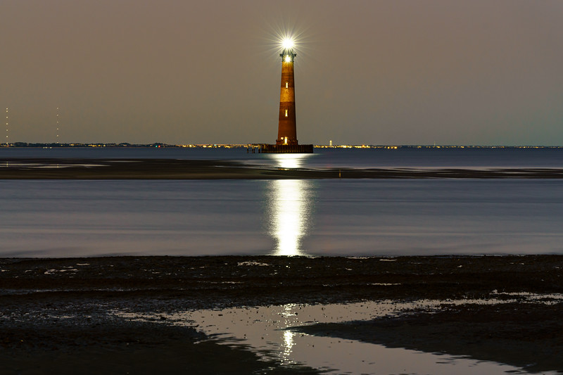 Morris Island Lighthouse lit up for New Years Eve 2019