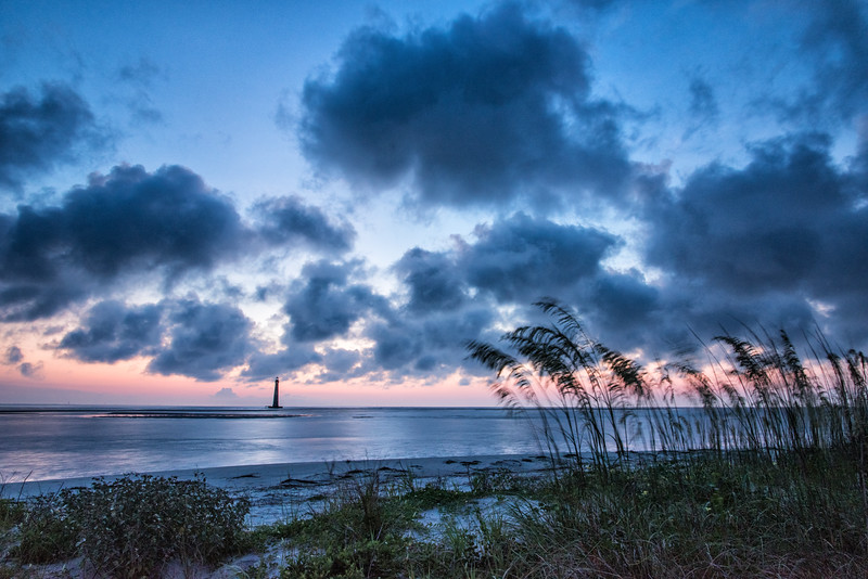 Pre-Dawn at Folly Beach with Morris Island Lighthouse