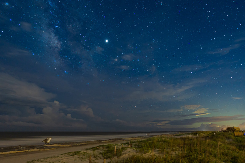 Milky Way, Jupiter, and Antares over Folly Beach County Park