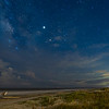 Milky Way, Jupiter, and Antares over Folly Beach County Park