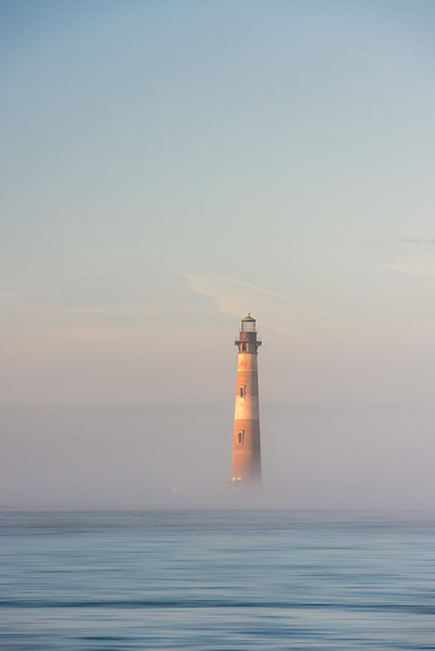 Morris Island Lighthouse in fog