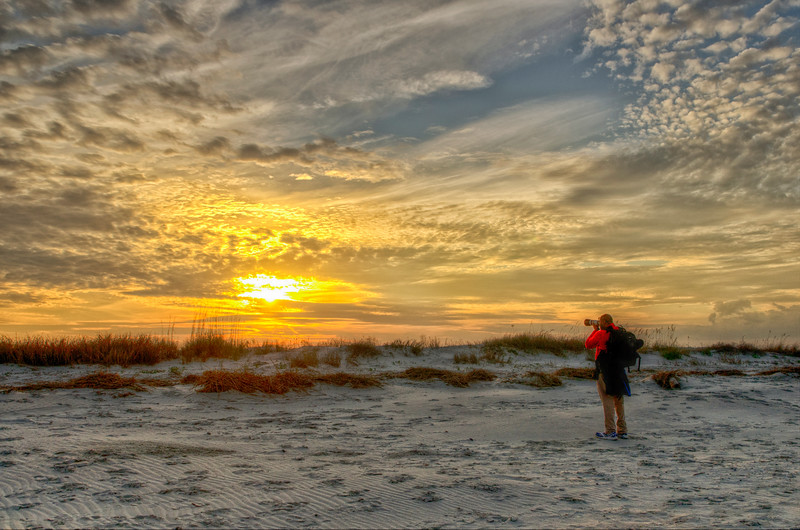Photographer and Folly sunset
