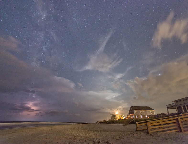 South end of Folly Beach late at night