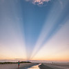 Crepuscular Rays opposite the sunset