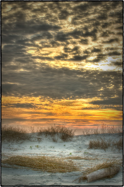 Sunset over Folly dunes