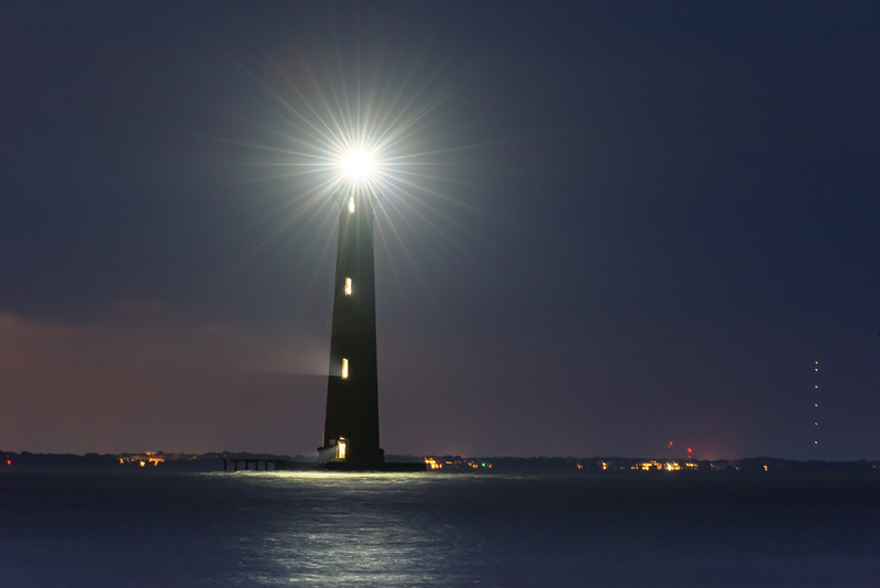 Morris Island Lighthouse, lit for 4th July 2019