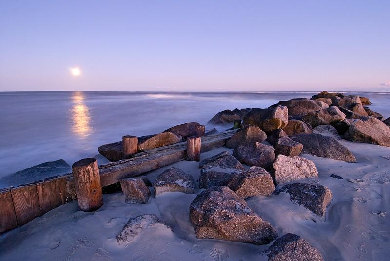 Full moon over Folly Beach