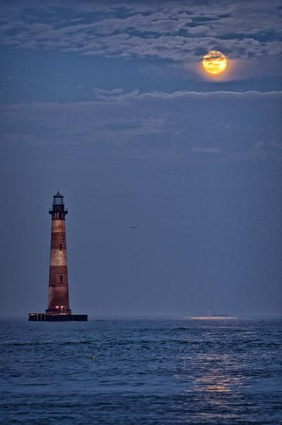 Moonrise over Morris Island Lighthouse