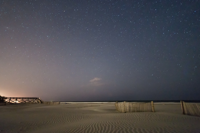 Folly Beach, beach, night, night time, sand, sea, stars, dune fencing, sand fences, ocean,