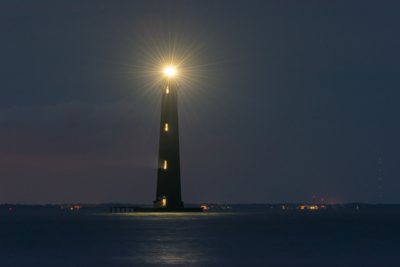 Morris Island Lighthouse lit for 4th July, 2019