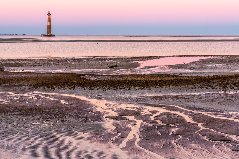 Morris Island Lighthouse at low tide