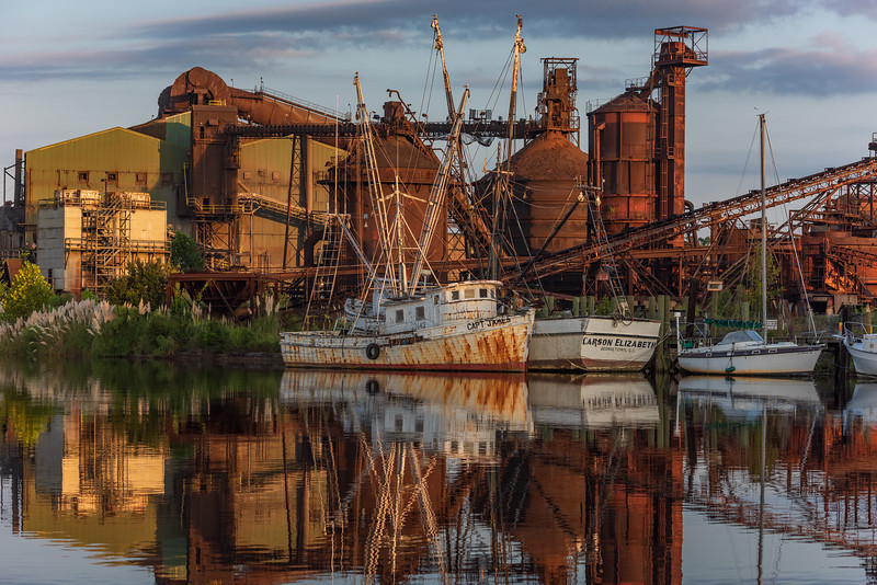Georgetown Steel Mill and boats tied up in the Sampit River