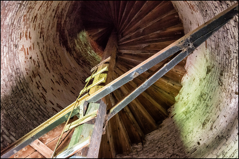 Interior of older (1827) red, conical Cape Romaine Lighthouse
