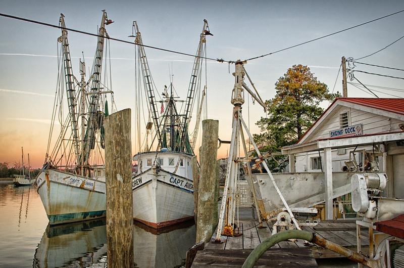 Shrimp boats tied up at the Georgetown Harborwalk