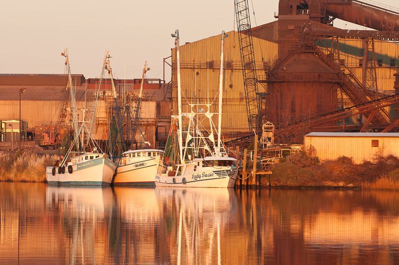 Shrimp boats with Georgetown Steel Mill backdrop
