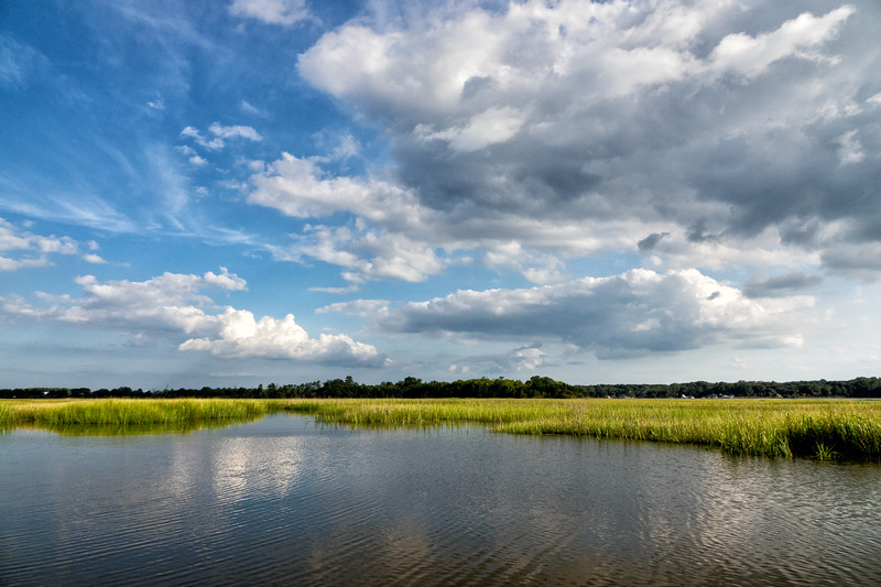 Clouds reflected in the creeks of the Stono River