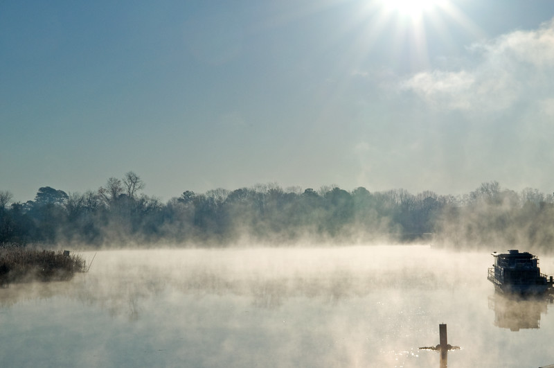Early morning mist on the Ashepoo River