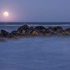 Moonrise over the ocean from Folly Beach