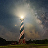 Hatteras Island Lighthouse,Milky Way, and Mars