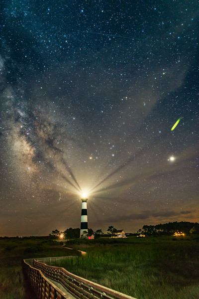 Bodie Island Lighthouse, Milky Way, Jupiter, and firefly :)