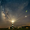 Bodie Island Lighthouse, Milky Way, Jupiter, and firefly :)