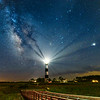 Bodie Island Lighthouse, Milky Way, and Jupiter