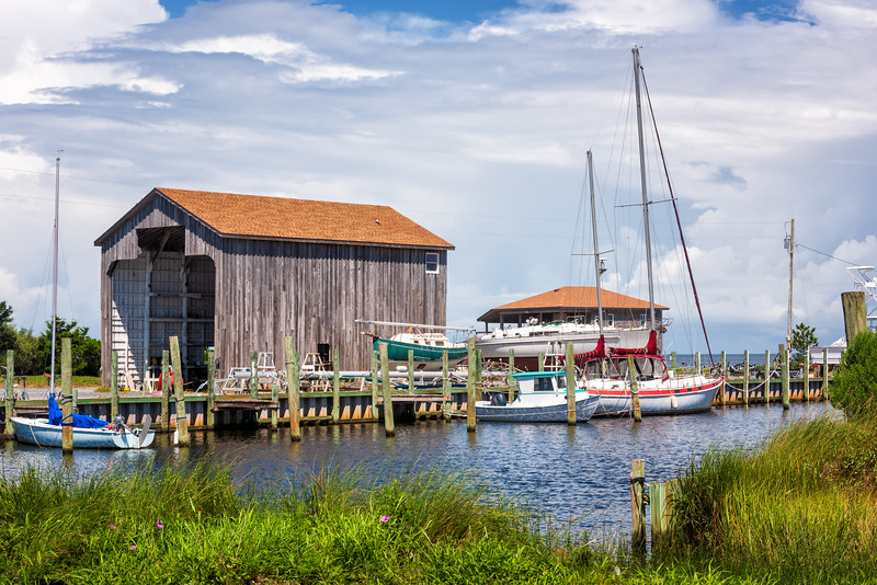 Small harbor and marina, Hatteras OBX