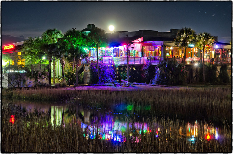 Vickery's under a full moon, Shem Creek