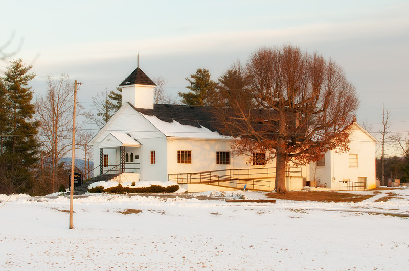 Church in the snow, NC