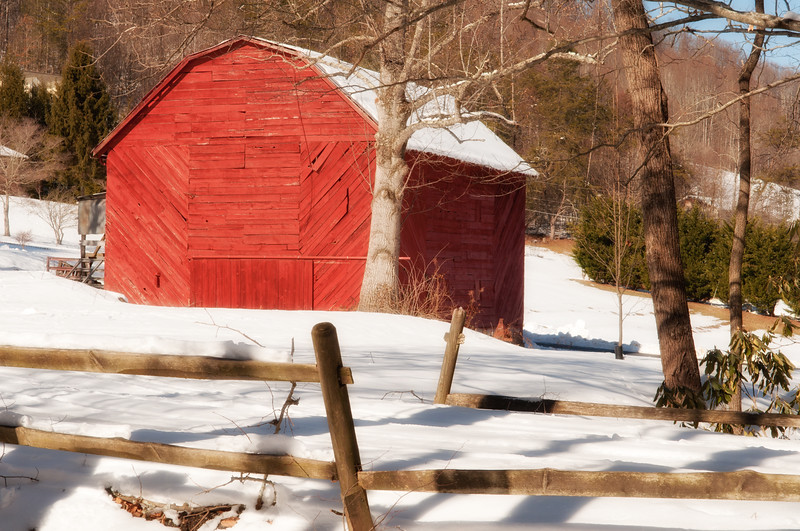Red Barn in the snow, NC