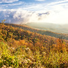 Fog clears over the Blue  Ridge Mountains