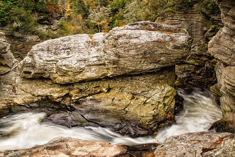 Chasm of water rushing towards the main Linville Falls