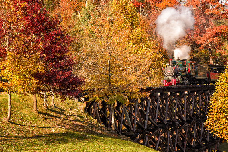 Tweetsie Locomotive steams across the trestle bridge