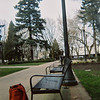 Downtown Portland Park Bench and Backpack