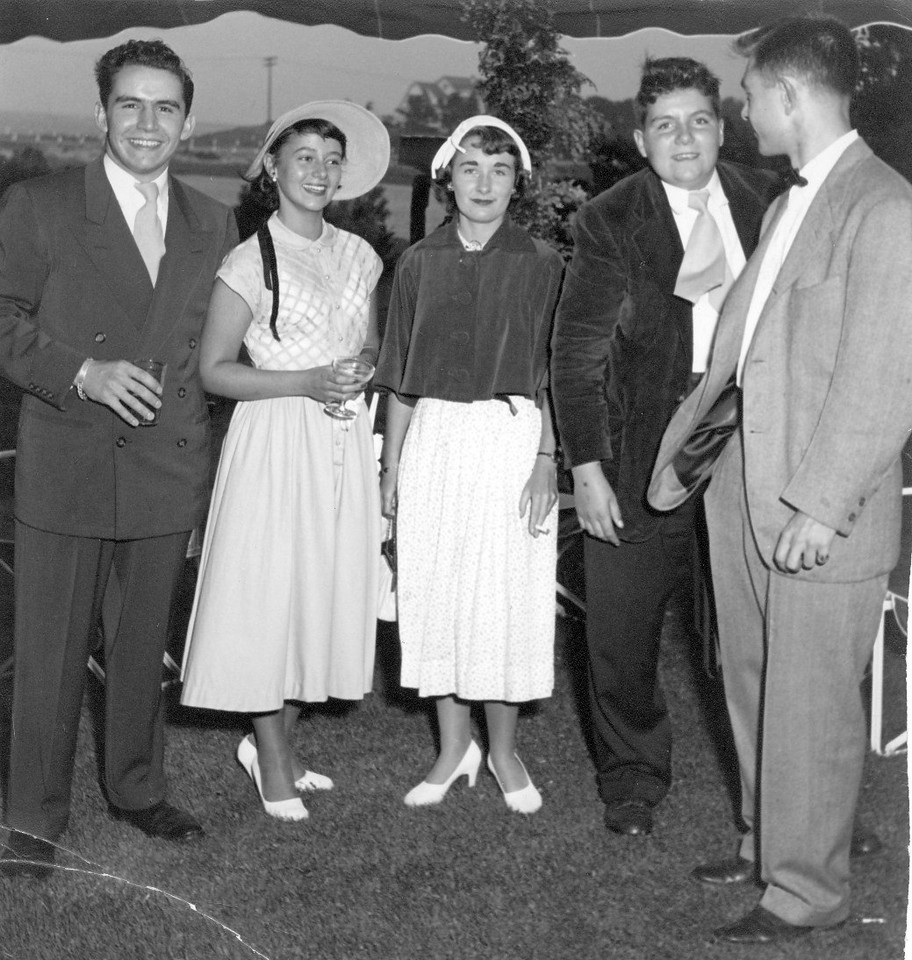 Jim III (L), Joan and John (second from right) at Keating wedding in Bridgeport CT. Mr. Tim Keating was owner (?) of Bridgeport Brass (CT) and convinced Jim III to study engineering rather than a musical career.