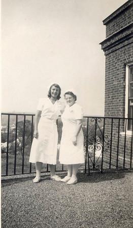 Joan [Tallman] Lacey, left, as volunteer at Harrington Memorial Hospital, Southbridge MA.